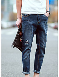 Men's Low Rise Micro-elastic Jeans Pants,Street chic Loose Solid