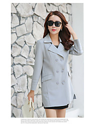 Women's Casual/Daily Simple Spring Coat,Solid Notch Lapel Long Sleeve Long Rayon