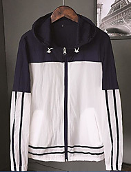 Men's Daily Modern/Comtemporary Summer Jacket,Striped Hooded Long Sleeve Regular Others