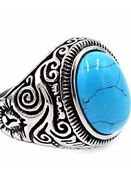 Men's Women's Ring Turquoise Basic Unique Design Costume Jewelry Stainless Steel Topaz Round Jewelry For Thank You Daily Casual