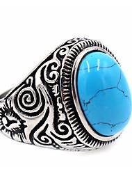 Homens Mulheres Anel Turquesa Básico Original bijuterias Aço Inoxidável Topázio Forma Redonda Jóias Para Diário Casual Ação de Graças