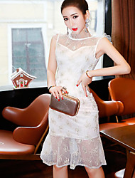 Women's Casual/Daily Work Lace Dress,Solid Jewel Knee-length Sleeveless Other Summer Mid Rise Micro-elastic Medium