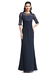 A-Line Scoop Neck Floor Length Chiffon Mother of the Bride Dress with Appliques by LAN TING BRIDE®
