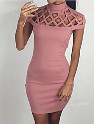 Moulante Robe Femme Soirée simple Sophistiqué,Couleur Pleine Licou Mini Manches Courtes Coton Printemps Eté Taille Normale Micro-élastique