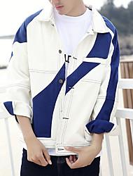 Men's Daily Modern/Comtemporary Cross-Seasons Summer Jacket,Color Block Shirt Collar Long Sleeve Regular Polyester
