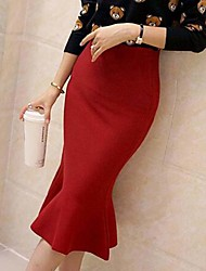 Women's Going out Midi Skirts,Street chic Solid Winter