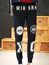 Masculino Moda de Rua Cintura Média Micro-Elástica Chinos Calças,Solto Sólido Frases e Citações