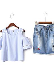 Для женщин Повседневные Лето Как у футболки Юбки Костюмы Круглый вырез,Современный Однотонный 1/2 Length Sleeve