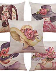 5 PC Lino Natural/Orgánico Cobertor de Cojín Funda de almohada,Estampados Con TexturasEstilo playero Retro Tradicional/Clásico Reforzar