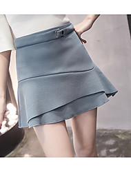 Women's Above Knee Skirts A Line Solid