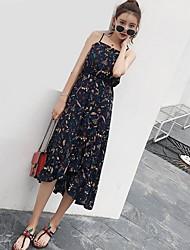 Trapèze Robe Femme Quotidien DécontractéFleur A Bretelles Midi Sans Manches Polyester / Rayon (T / R) Eté Taille Haute Micro-élastique Fin