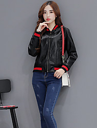 Women's Leather Jacket Stand Long Sleeve