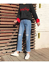 Sign 2017 new spring burr hole denim trousers