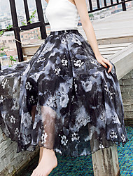 Women's Going out Casual/Daily Midi Skirts Swing Print Summer