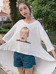 Damen Druck Einfach Alltag T-shirt,Rundhalsausschnitt 3/4 Ärmel Andere