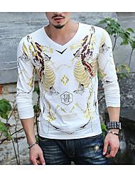 Tee-shirt Homme,Imprimé simple Eté Manches Longues Col en V Coton