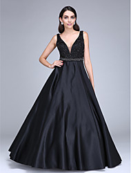 Ball Gown V-neck Floor Length Satin Formal Evening Dress with Beading Sash / Ribbon by TS Couture®