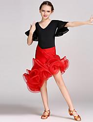Latin Dance Outfits Kid's Performance Chinlon Spandex Ruffles Crystals/Rhinestones Flower(s) 2 Pieces Half Sleeve Natural Leotard Skirt