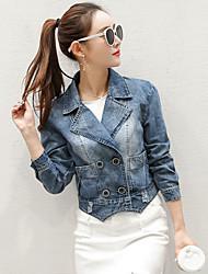 Women's Casual/Daily Simple Summer Denim Jacket,Solid Shirt Collar Long Sleeve Short