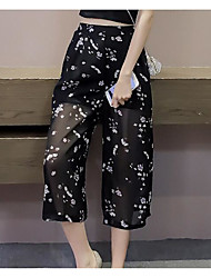 Women's Mid Rise Micro-elastic Loose Pants,Simple Loose Print