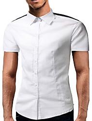 Masculino Camisa Social Casual SimplesEstampado Algodão Colarinho de Camisa Manga Curta