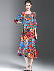 YHSPWomen's Plus Size Going out Casual/Daily Vintage Chinoiserie Sophisticated Loose DressFloral Print Round Neck Midi 3/4 Length Sleeve