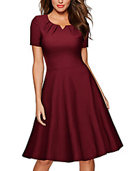 Women's Casual/Daily Work Sexy Simple Sheath Dress,Solid U Neck Mini Above Knee Short Sleeve Polyester All Seasons Low Rise Micro-elastic