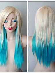 75CM Blonde /Turquoise Ombre Wig Scene Wig Long Length Soft Layers Hairstyle Wig for Daily Use or Cosplay Fashion Natural Hair