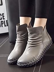 Damen Schuhe Leder PU Frühling Komfort Stiefel Für Normal Schwarz Grau Braun Burgund