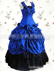 One-Piece/Dress Sweet Lolita Vintage Inspired Cosplay Lolita Dress Black Blue Solid Color Floor-length Skirt For Padded Fabric
