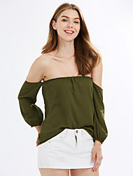 Women's Off The Shoulder Going out Holiday Sexy Street chic Spring Fall T-shirtSolid Off Shoulder Backless Fashion All Match Long Sleeve Medium