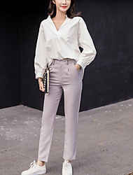 Women's High Rise Micro-elastic Loose Pants,Street chic Straight Solid