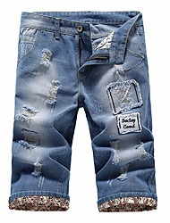 Men's Mid Rise strenchy Jeans Shorts Pants,Street chic Slim Solid