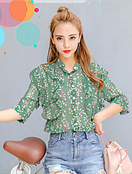 Women's Daily Simple Blouse,Floral Shirt Collar Half-Sleeve Polyester