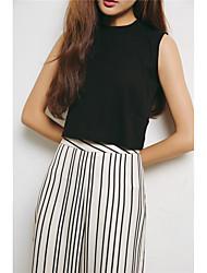 Tee-shirt Femme,Couleur Pleine Sortie Vintage Sans Manches Epaules Dénudées Coton