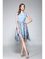 NEDO Women's Going out Party Holiday Vintage Street chic Chiffon DressFloral Round Neck Asymmetrical Sleeveless Cotton Polyester Spring Summer