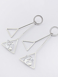 Women's Drop Earrings Euramerican Fashion Copper Glass Geometric Triangle Shape Jewelry For Casual 1 Pair