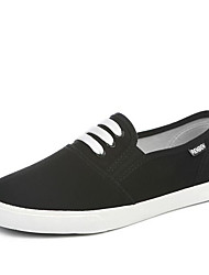 Damen Loafers & Slip-Ons Leinwand Frühling Weiß Schwarz Flach