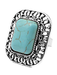 Toonykelly® Vintage Look Antique Silver Turquoise Stone Square Ring 1pc
