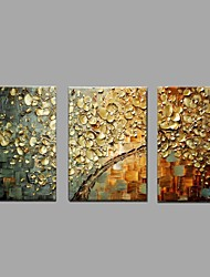 Ready to Hang Stretched Frame Hand-painted Oil Painting White Blossom Golden Wall Art