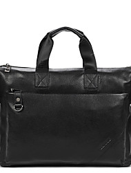 Men Bags All Seasons Cowhide Tote with Seemless for Business Casual Formal School Date Work Office & Career Black