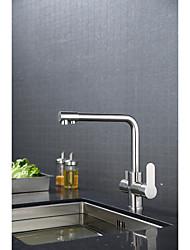 Modern/ContemporaryCeramic ValveBrushed , Kitchen faucet