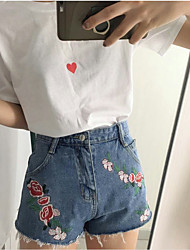 Women's High Waist strenchy Loose Jeans Pants,Street chic Loose Solid Embroidery