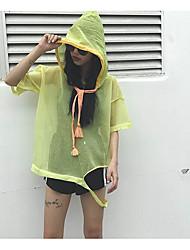 Damen Einfarbig Einfach Lässig/Alltäglich T-shirt,Mit Kapuze Sommer ½ Länge Ärmel Baumwolle