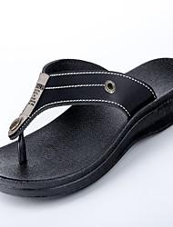 Men's Slippers & Flip-Flops Comfort Leather Summer Outdoor Comfort Flat Heel Black Brown Under 1in