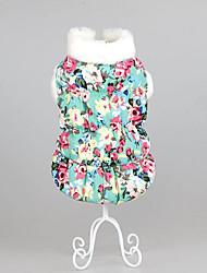 Chien Robe Vêtements pour Chien Décontracté / Quotidien Garder au chaud Floral/Botanique Vert Bleu Rose