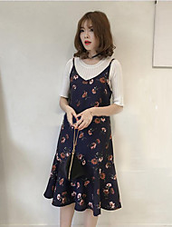 Women's Casual Loose Dress,Floral V Neck Midi Sleeveless Chiffon Summer Low Rise Inelastic Thin