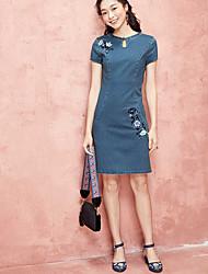 Dámské Běžné/Denní Volné Šaty Jednobarevné,Krátký rukáv Kulatý Nad kolena Polyester Léto Mid Rise Lehce elastické Tenké