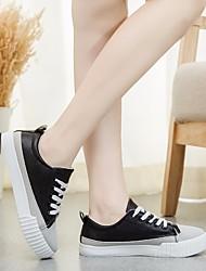 Damen Flache Schuhe Leuchtende Sohlen Komfort PU Frühling Sommer Normal Leuchtende Sohlen Komfort Weiß Schwarz Flach
