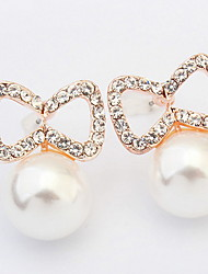 European and American fashion small pure and fresh and tie the pearl earrings